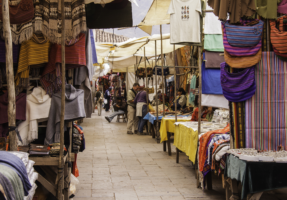 Side Street of Stalls in the Pisac Market