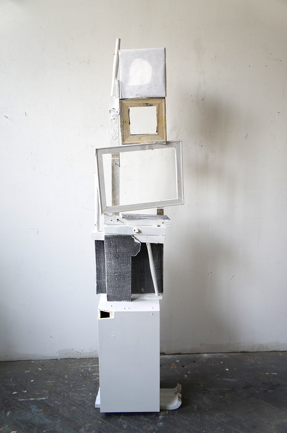 Untitled,  2013, Wood, frames, paper, latex paint and hardware