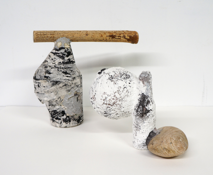 Papier-mâché, rock, wood, and found objects, 2017