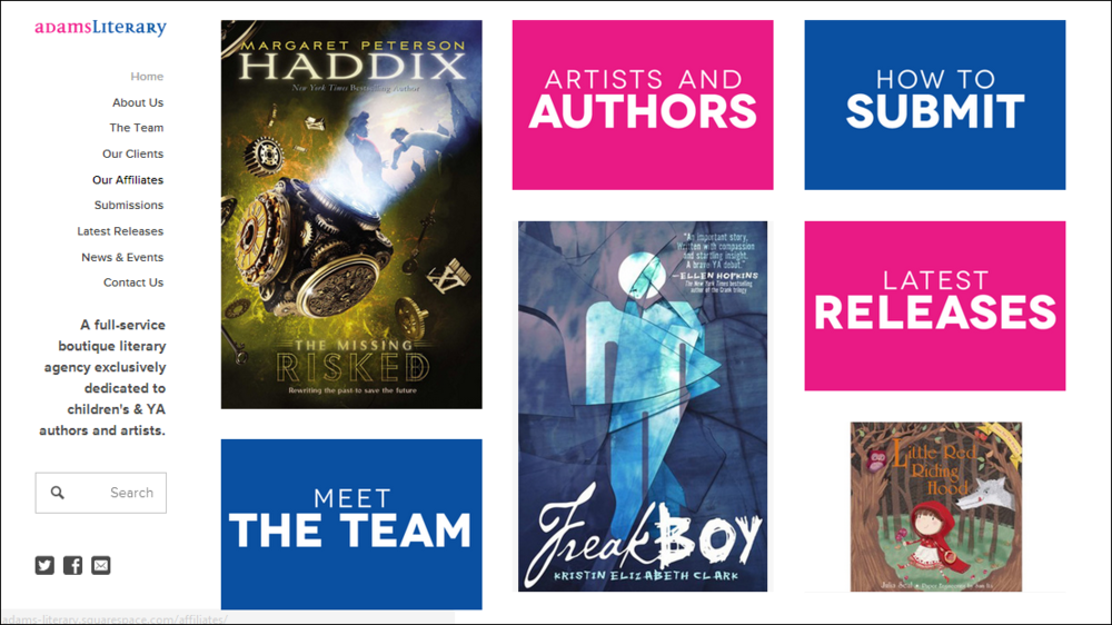 Our home page showcases our authors and artists.
