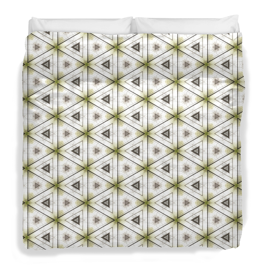 """Green triangles"" bedsheets, available at Redbubble store: http://www.redbubble.com/people/domcia/works/14480014-green-triangles?p=duvet-cover"