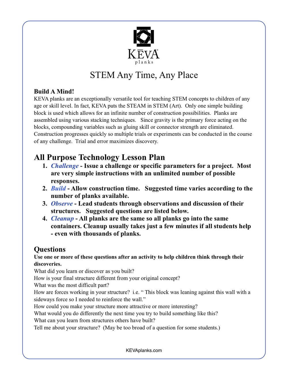 Lesson Plans, Challenges, Games & Activities — KEVA planks