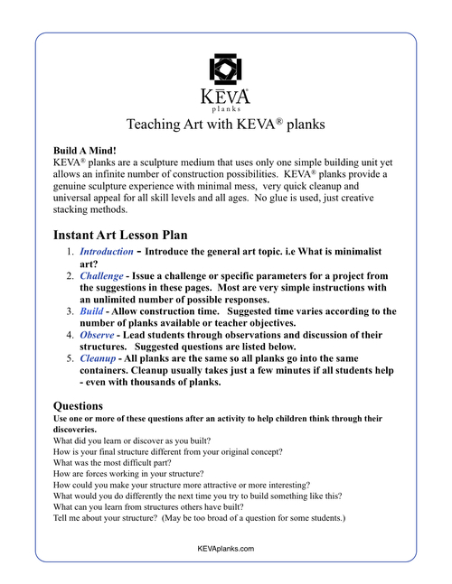 Lesson Plans Challenges Games  Activities  Keva Planks