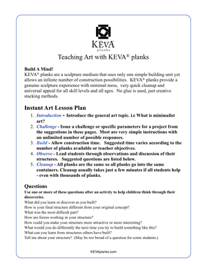 Easy Art Activities - click for the pdf