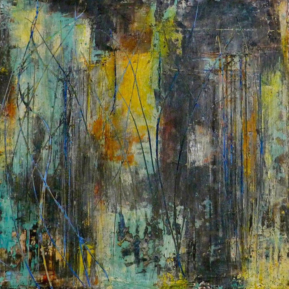Oil and Cold Wax, Cabin Fever, Artist Kathy Elliott   http://kathyelliottart.blogspot.com  #oilandcoldwax # abstractart