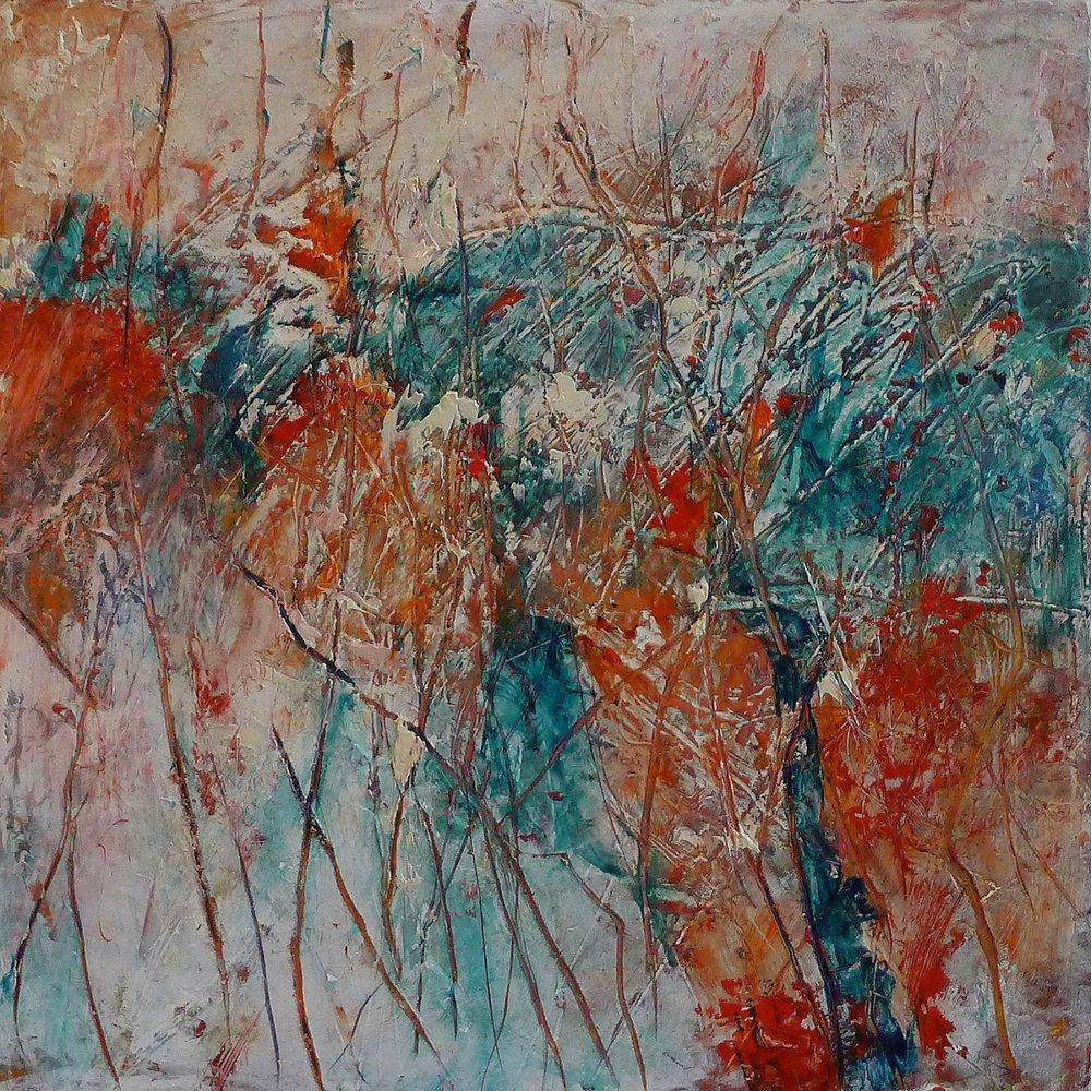 "Artist Kathy Elliott   http://kathyelliottart.blogspot.com  #oilandcoldwax # abstractart 8"" x 8"" Oil and Cold Wax, lines, aqua, reds and neutrals"