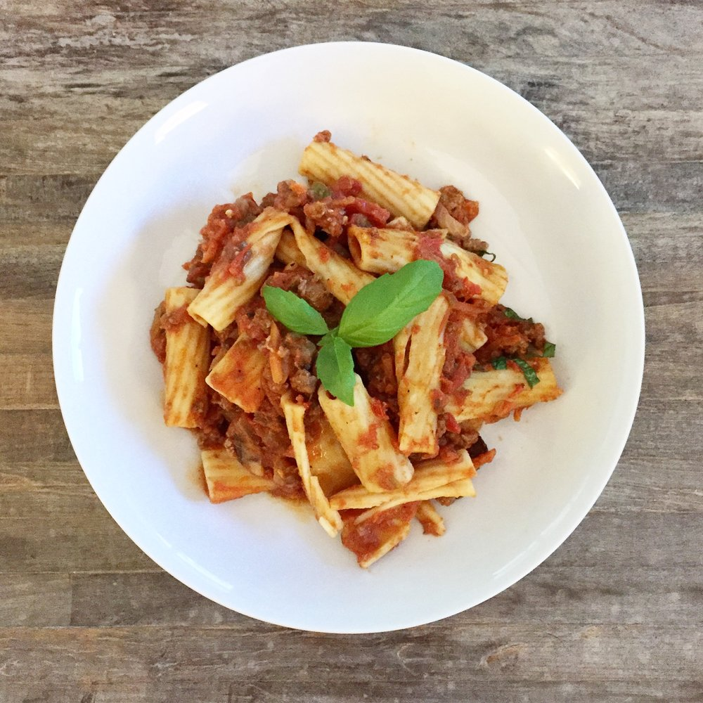 Quick & Easy Week Night Dinner - Bolognese Recipe, Dallas Nutritional Counseling #dallasnutritionalcounseling #balancedeating #homecooking #quickrecipes #easyrecipe #weeknightrecipe #carbfatpro #quickeasyrecipe