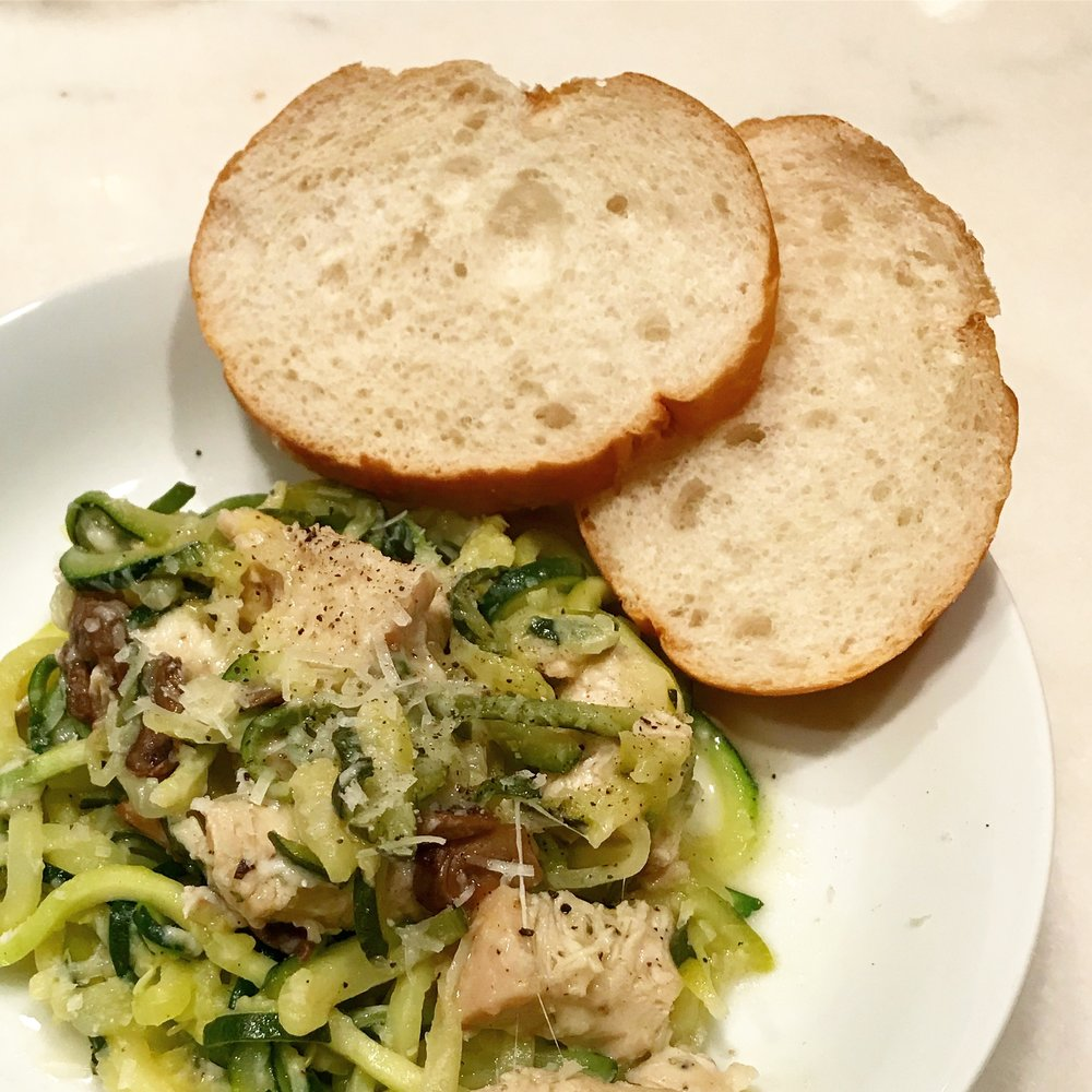 Quick & Easy Week Night Dinner - Zoodles + Mushroom Garlic Cream Sauce, Casey Bonano RD LD, Dallas Nutritional Counseling #dallasnutritionalcounseling #balancedeating #homecooking #quickrecipes #easyrecipe #weeknightrecipe #carbfatpro #quickeasyrecipe #balancedeating #intuitiveeating