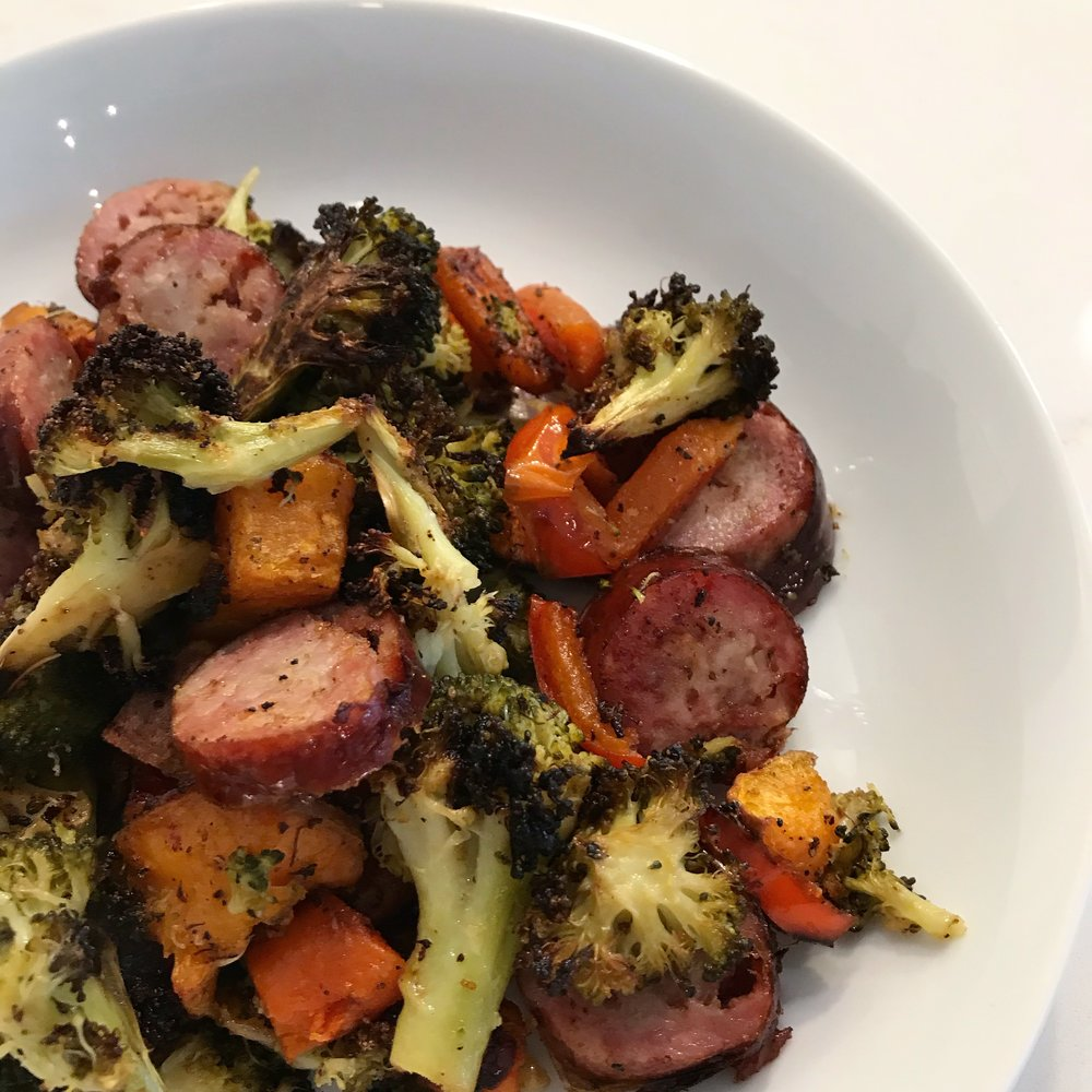 Quick & Easy Week Night Dinner -Sausage & Roasted Vegetables, Casey Bonano RD LD, Dallas Nutritional Counseling #dallasnutritionalcounseling #balancedeating #homecooking #quickrecipes #easyrecipe #weeknightrecipe #carbfatpro #quickeasyrecipe #balancedeating #intuitiveeating