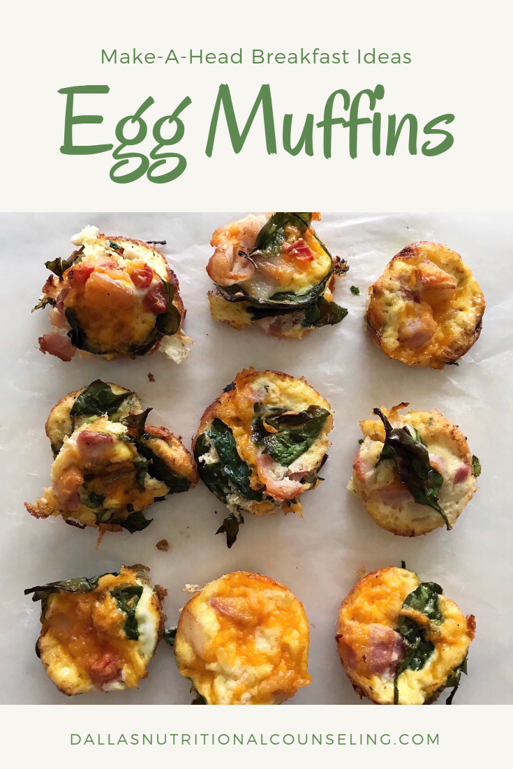 Breakfast Recipe -Egg Muffins Casey Bonano RD LD, Dallas Nutritional Counseling #dallasnutritionalcounseling #balancedeating #homecooking #quickrecipes #easyrecipe #breakfastrecipe #carbfatpro #quickeasyrecipe #balancedeating #intuitiveeating #easybreakfastideas
