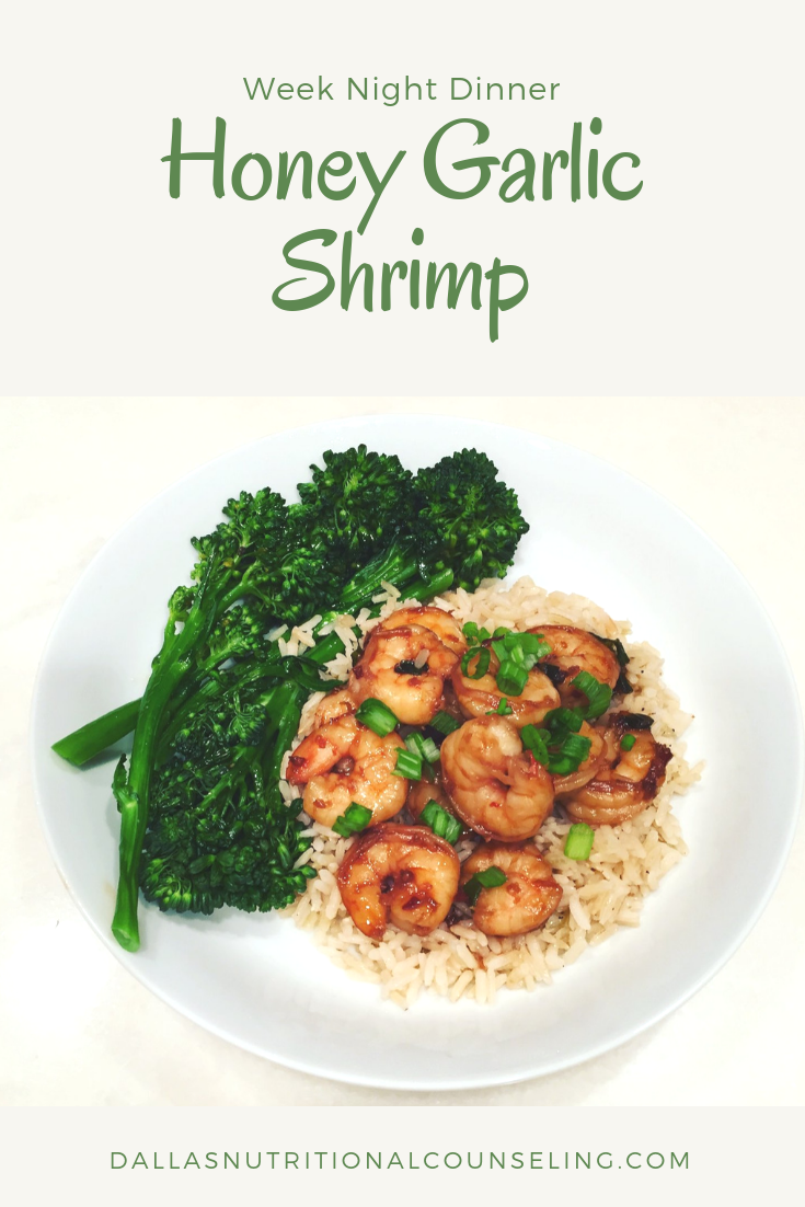 Quick & Easy Weeknight Dinner - Honey Garlic Shrimp #dallasnutritionalcounseling #weeknightdinners #quickeasyrecipe #carbfatpro #balancedeating #easydinnerrecipe #easyrecipe