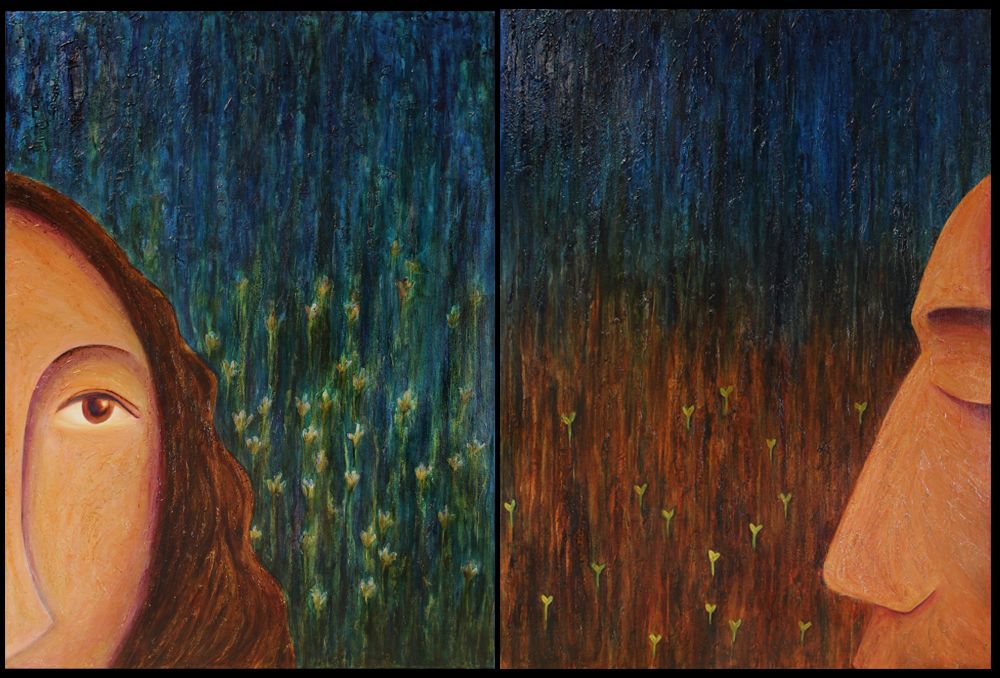 "Mary and Joseph/ Acrylic on Canvases 40""x30"" each / Jennifer Neal copyright 2015"