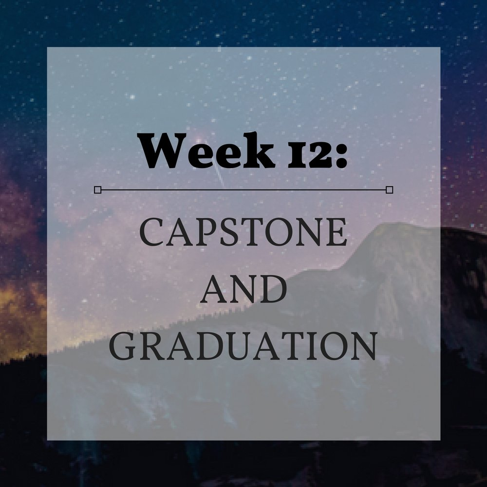 Week 12 Capstone and Graduation