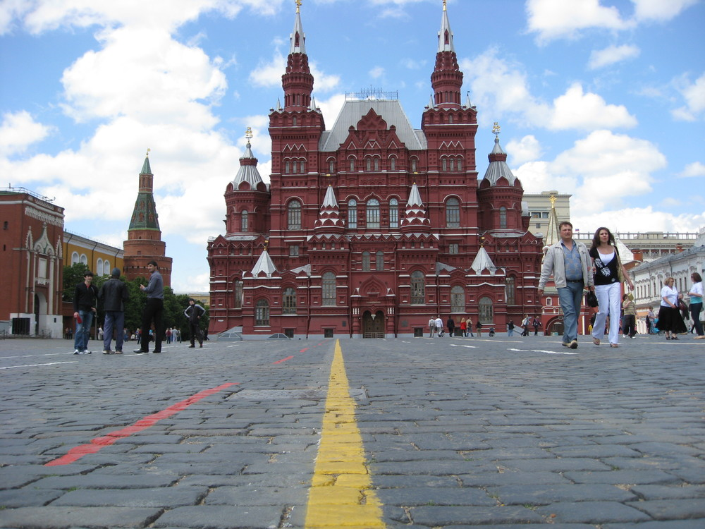Dropping the camera a foot off the ground offers a more interesting perspective and, in this case, emphasizes scale of Red Square in Moscow