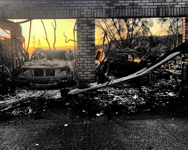 Really difficult to see the destruction of the Santa Rosa fires first hand. Two cars remain in what was a garage...hope they got out with neighbors. #santarosafire #fountaingrove