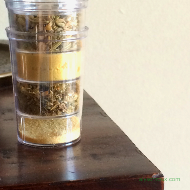 Use a cosmetics container to keep your favorite spices within reach.