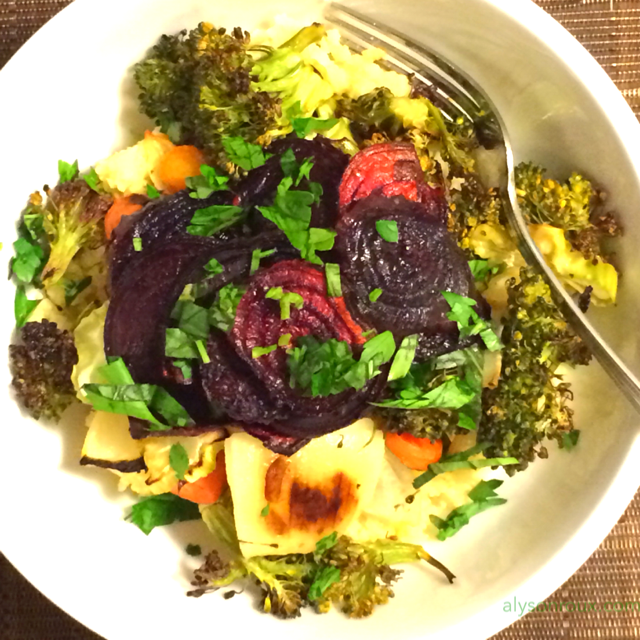 Roasted beets, broccoli, carrots, onions and garlic over millet with fresh basil and parsley.