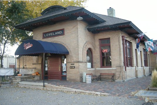 The Loveland Depot, now a sports bar, but still a darn cute building