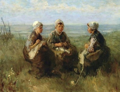 Three Women Knitting by the Sea, by Josef Israels, ca. 1900