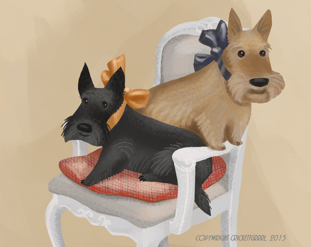 """Mary Scott Huff's Scottish Terriers"" by Va"