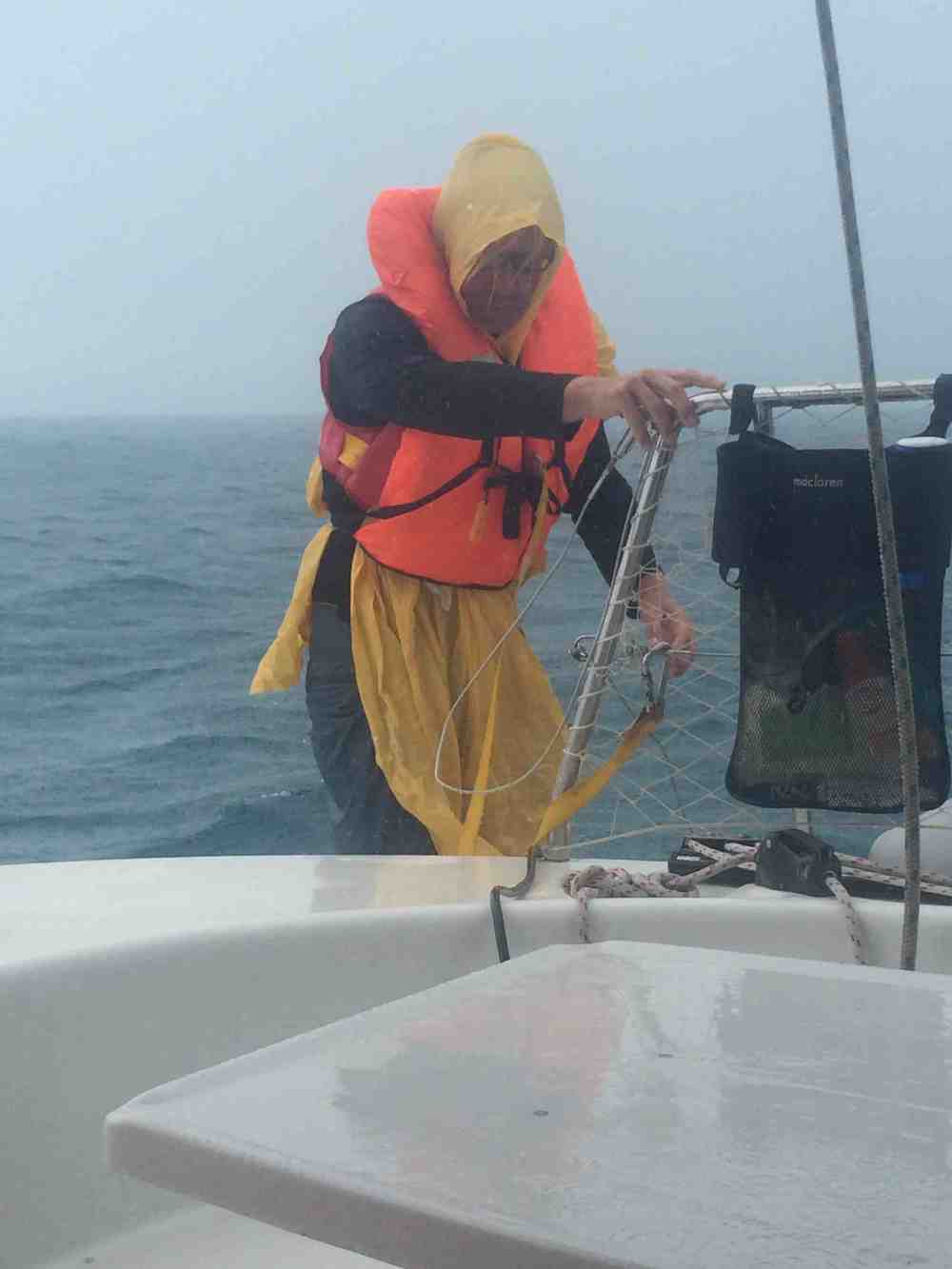 Clipping in while bailing the dinghy