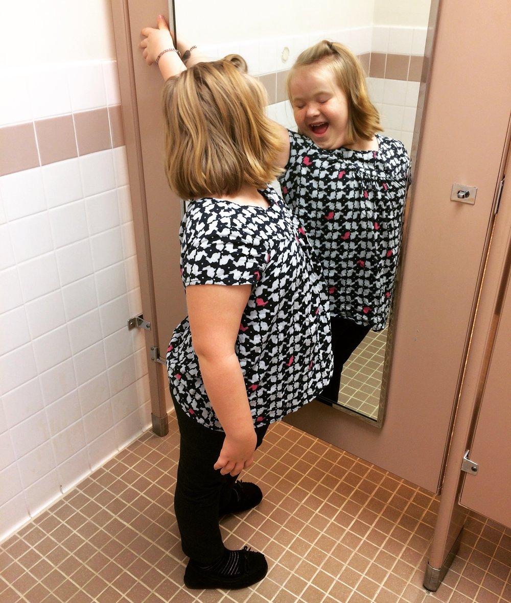 """Mommy, I like my reflection!"""