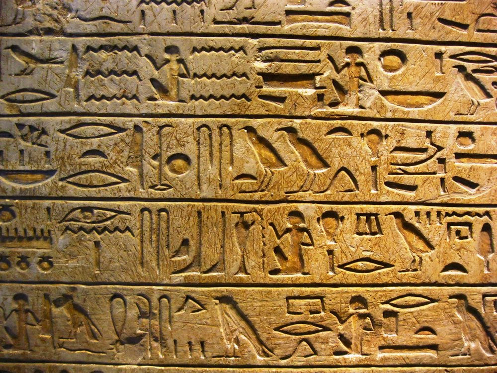 Hieroglyphics on display at the Louvre.
