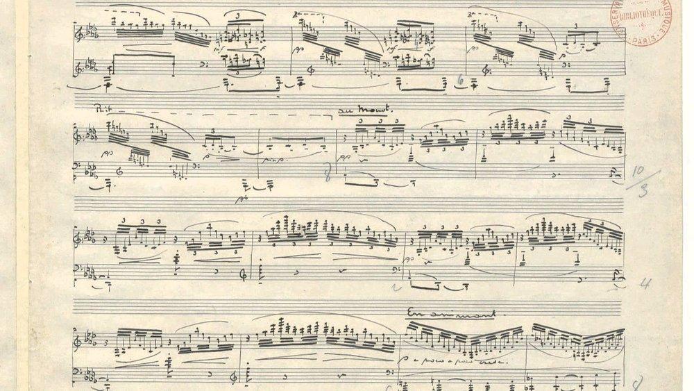 Handwritten score by Claude Debussy.