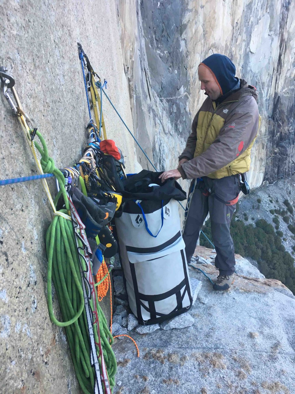 El Cap Tower. Check out the haul bag. Can you see the matador with the funny face wearing underwear?