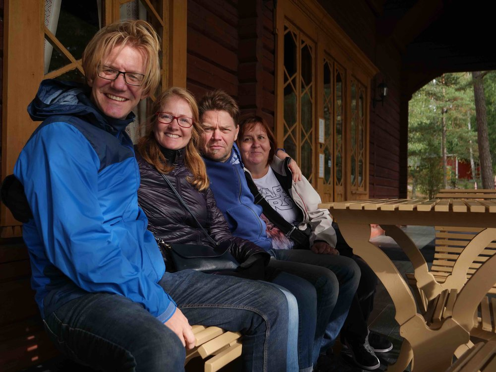 Emily and I with my cousin, Esa, and his wife, Sari at the Russian Czar's fishing lodge.  Finland was part of Russia until Finland declared independence in 1947. Lenin was in a good mood that day and decided to let it slide.