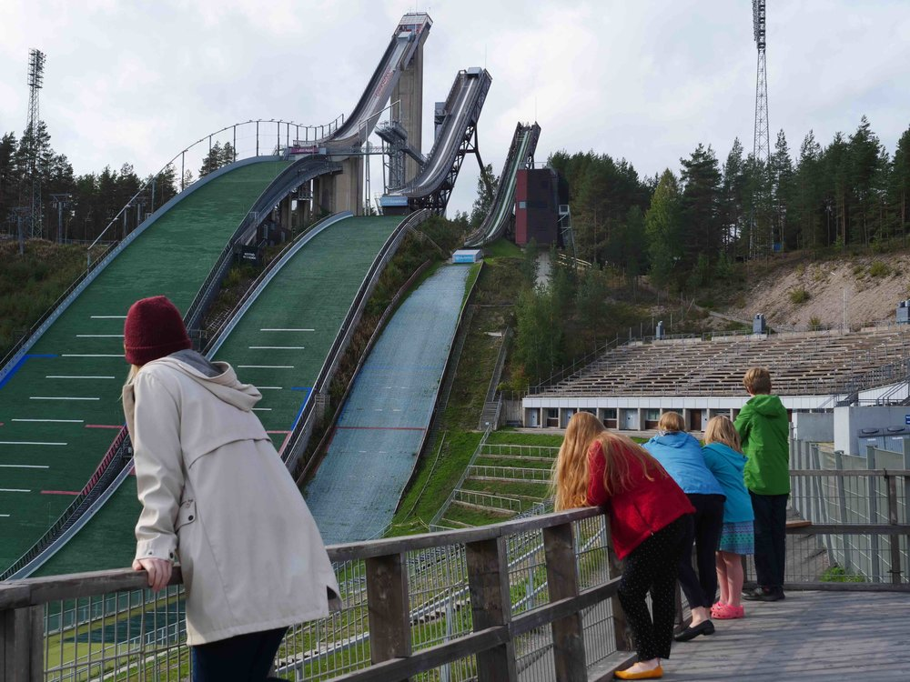 The ski jumps of Lahti, where Finnish athletes train for the Olympics and other winter sport competitions.