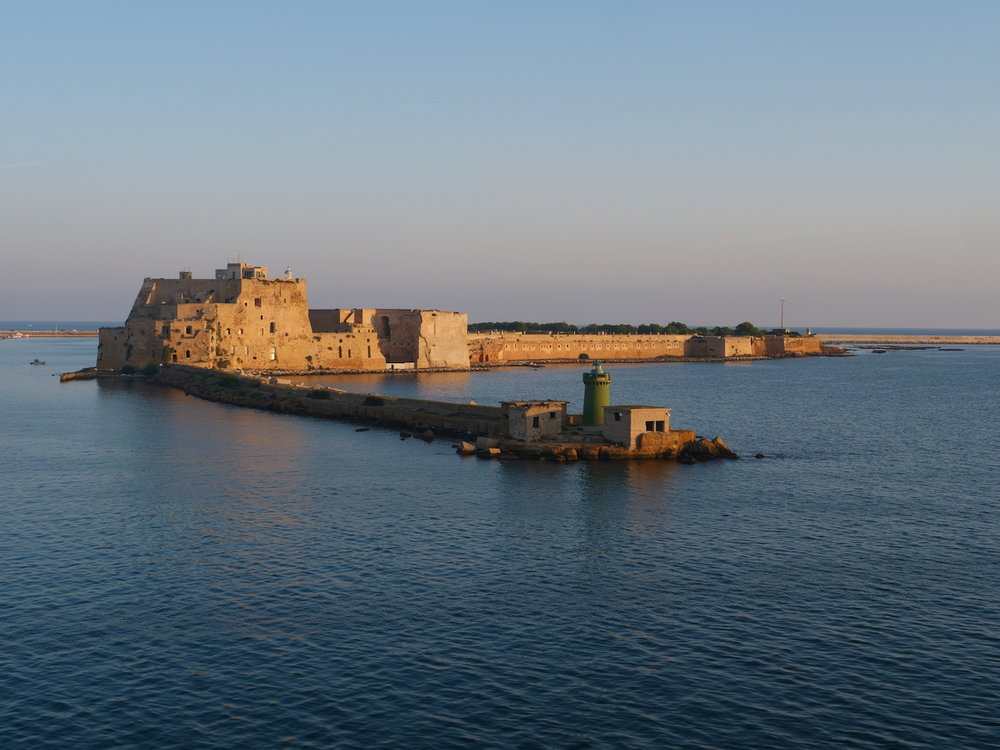 The old fort marking the entrance to Brindisi.