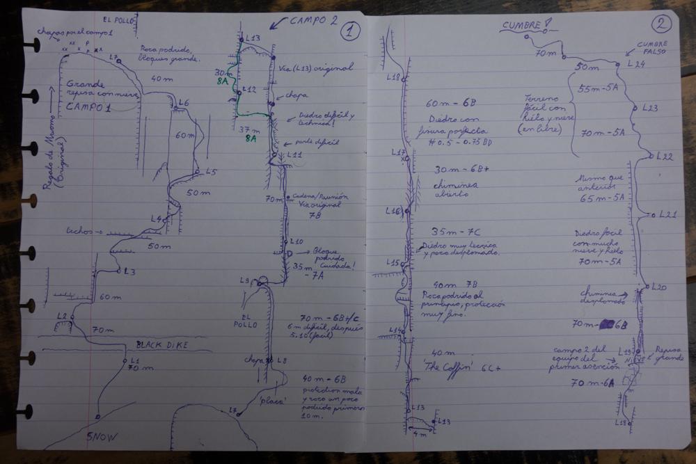 """The hand drawn route for """"El Regalo de Mwono."""" Photo courtesy of Nico Favresse, Siebe Vanhee and Sean Villanueva O'Driscoll"""