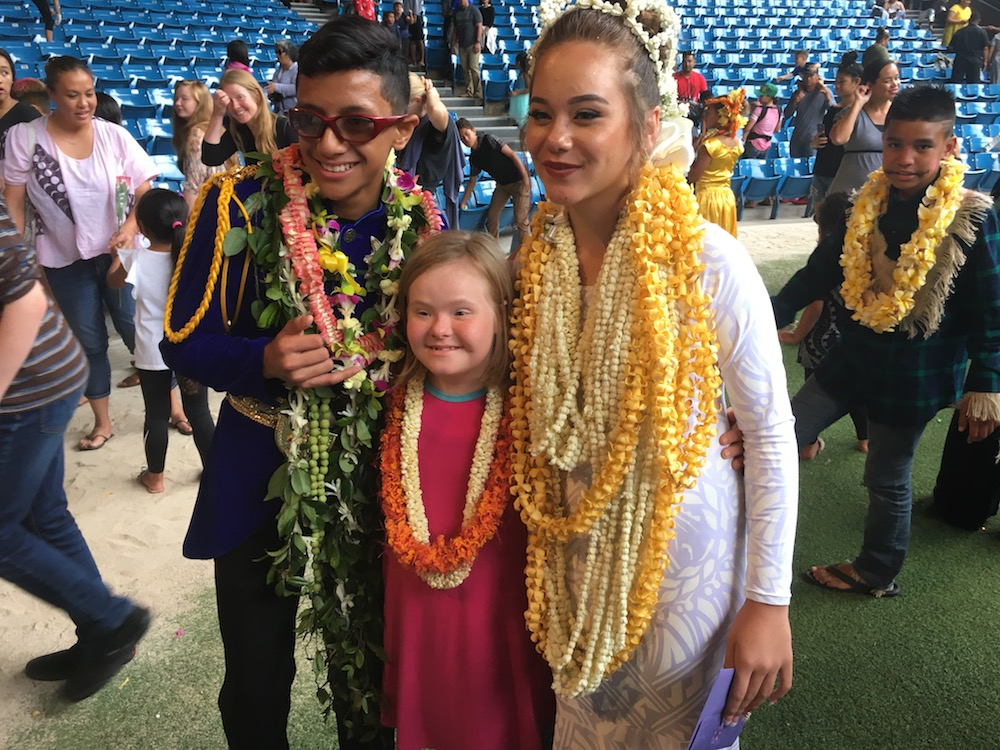 Remember  what happened last time ? left to right: May Day King, Lily, May Day Queen. Laie, Oahu