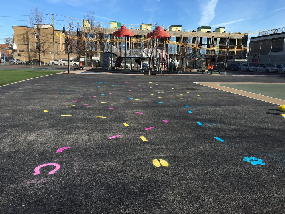 A semi-permanent playground installation at PS 15 in Red Hook, Brooklyn.