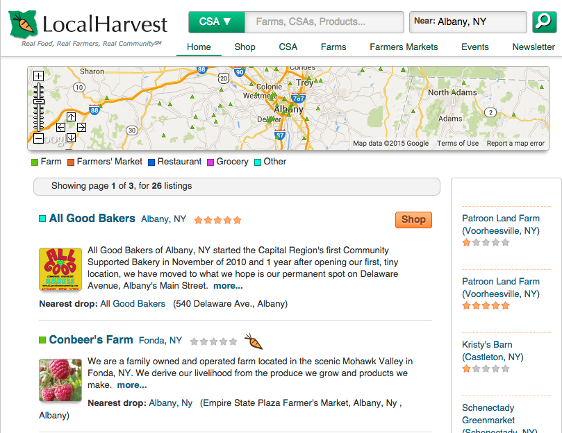 Screen shot of Local Harvest CSA search page.