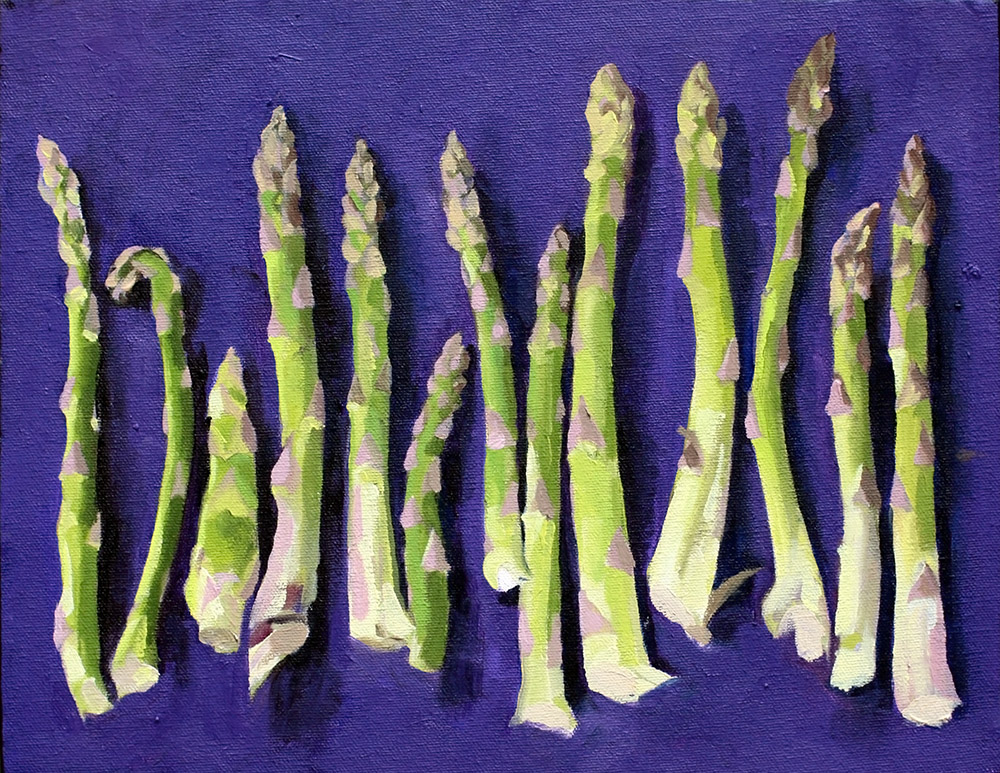 First asparagus of the season. 11x14. 2016.