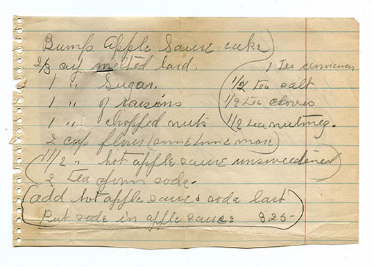"""Bump's"" was the daughter of a family friend who married Everett's cousin. She got her nickname because she was so clumsy. This recipe was saved in both Margaret's cookbook and Peg's recipe box, so I figured it was a real treasure!"