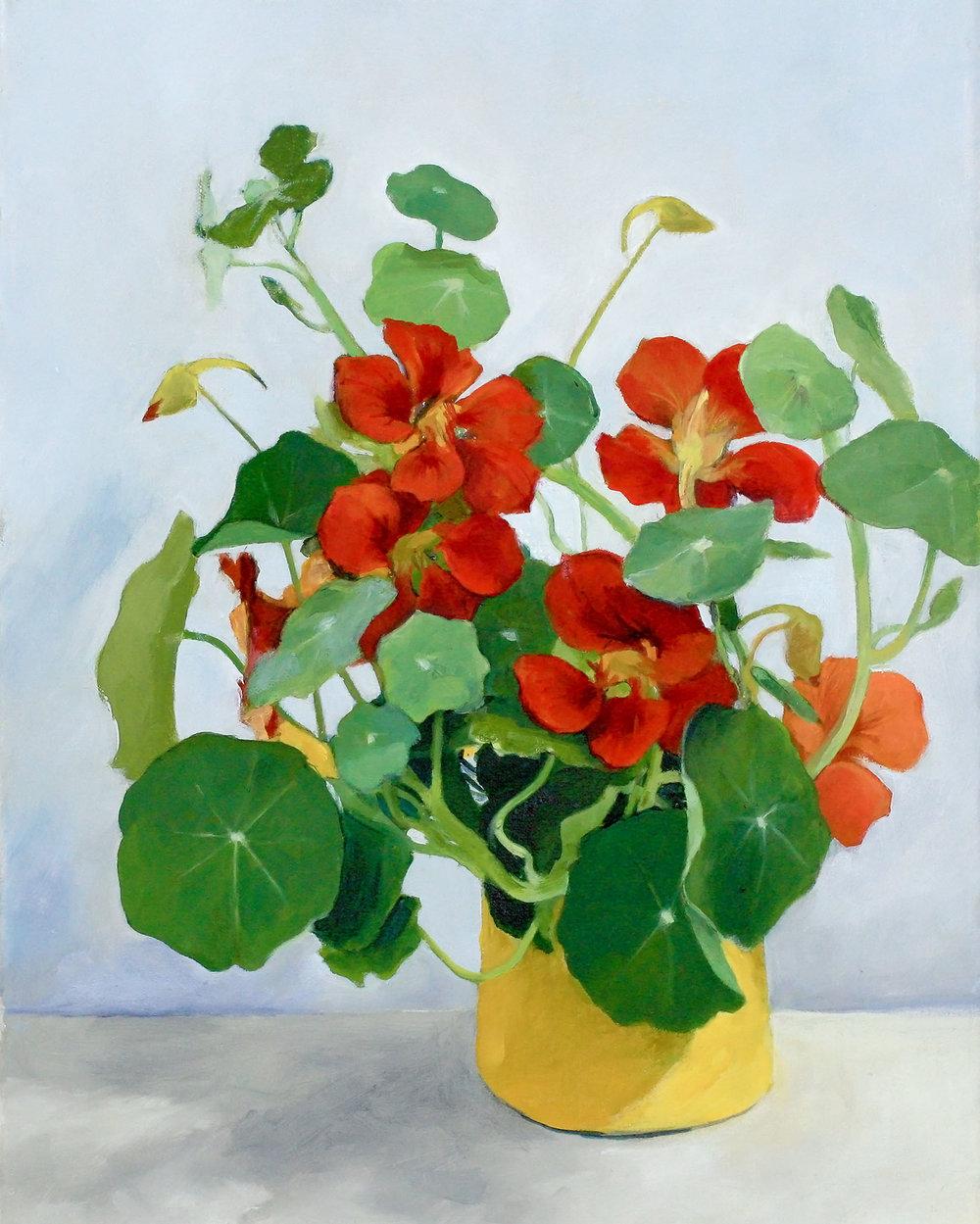 Nasturtiums in Yellow Vase