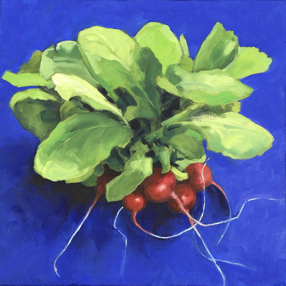 Radishes on Blue