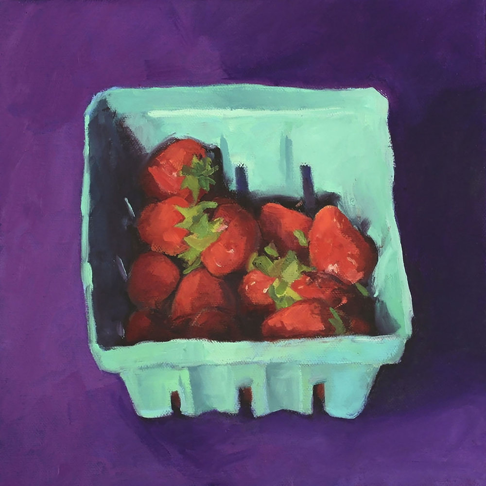 Strawberries on purple.