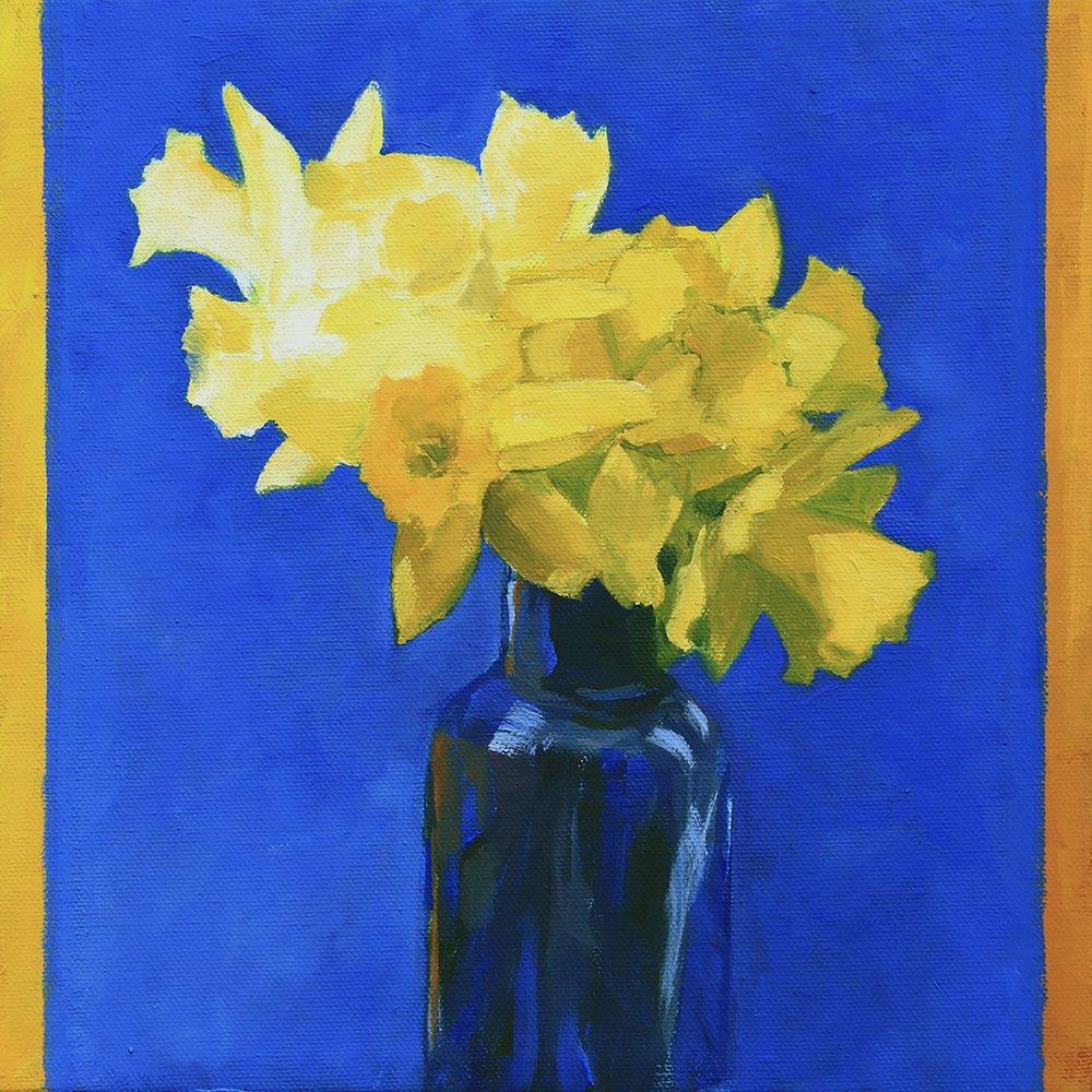 Daffodils on Blue