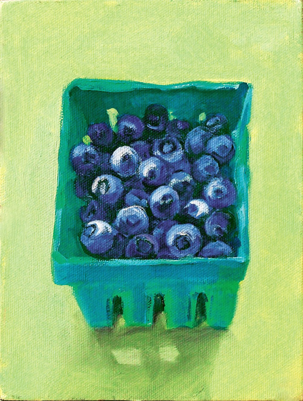 Blueberries on Bright Green