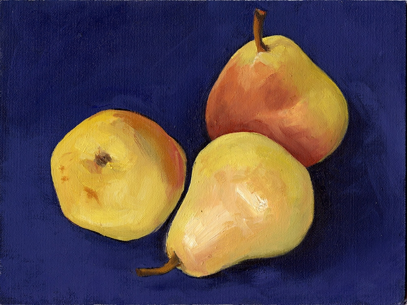 Golden Pears on Dark Blue