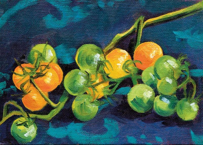 Orange Cherry Tomatoes on the Vine