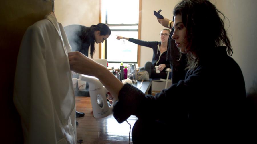 Gabi and team, prepping for the Kickstarter video.