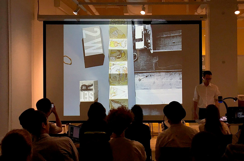 Talk at RISD, September 2016 (picture and invitation by James Goggin), Left: 2wBOX Set R, 2007 (B.ü.L.b comix)