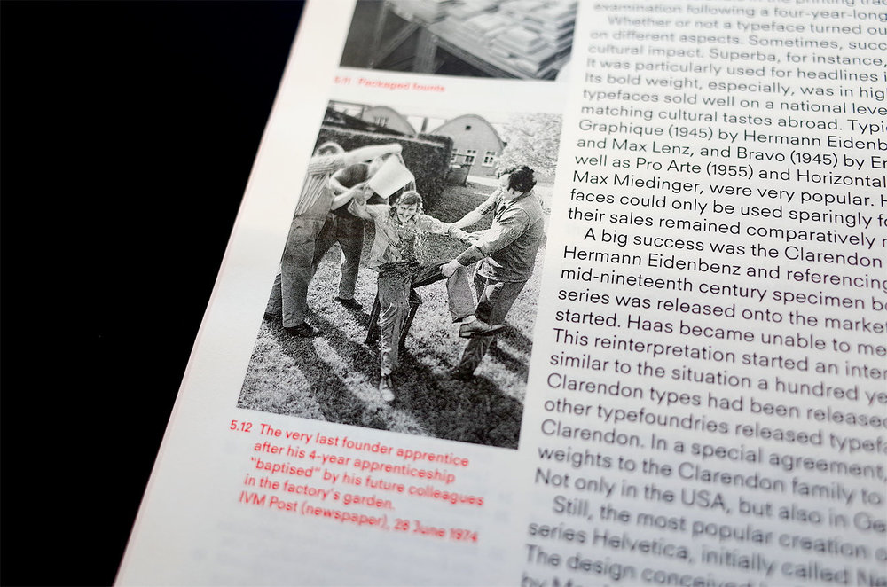 The Haas Typefoundry Ltd. article, detail with in-progress typeface