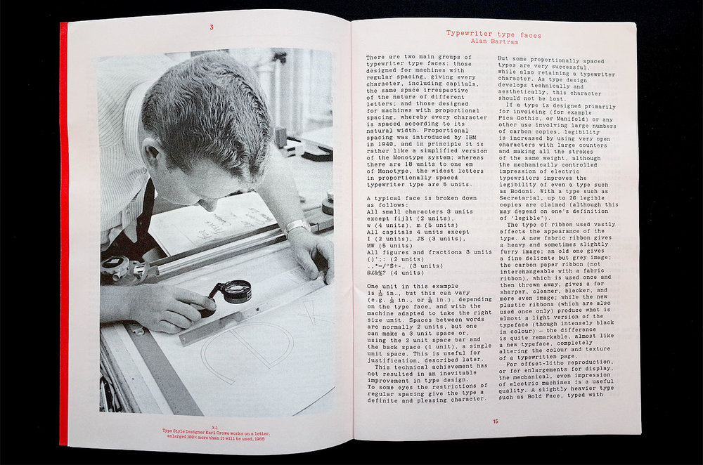 Alan Bartram's Typewriter type faces article reset with a custom revival