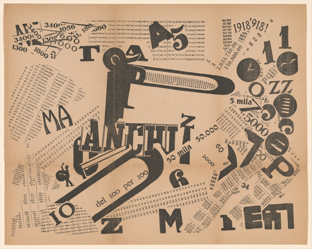 A Tumultuous Assembly: Numerical Sensibility is an example of tavole parolibere (free-word pictures). In this print, the subject of which is Italy's victory in World War I, Marinetti drew from visual collage and parole in libertà (words-in-freedom) and eschewed regulations of grammar and syntax to create a work that can be interpreted both visually and aurally. A Tumultuous Assembly: Numerical Sensibility liberates numbers, signs, letters, and images from their functional responsibilities, exaggerates forms, and juxtaposes diverse elements, thereby producing unexpected associations. The Futurists celebrated the potential of war, drawing analogies between weaponry, such as torpedoes and bombs, and Futurist poetry. Here, Marinetti combined innovative typography, found elements (such as the image of the drummer boy on the left and the strips of letters and numbers throughout the composition), and dramatic variations in scale to create a dynamic composition representing a celebrating crowd.